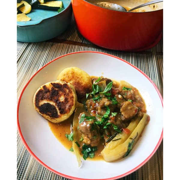 Fennel lam stew with potato cakes