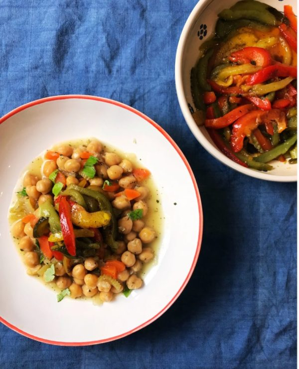 Chick pea stew with roasted peppers