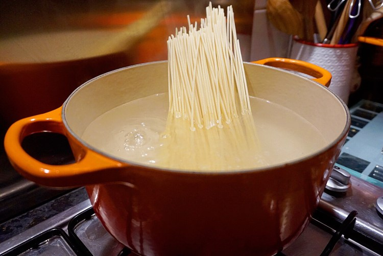 Cook the spaghetti in boiling salted water
