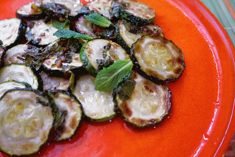 Fried and marinated courgette