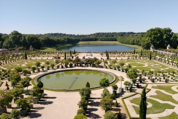 French gardens in Versailles carefully laid out around ponds