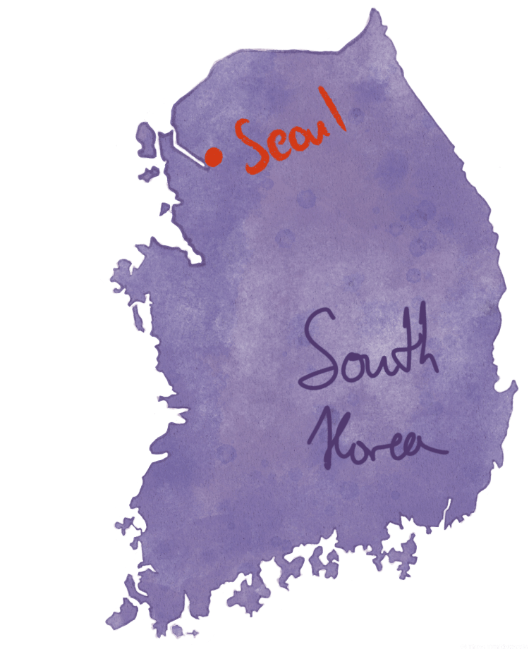 Seoul travel guide hand drawn map of Korea in purple. Seoul is marked with a red dot.