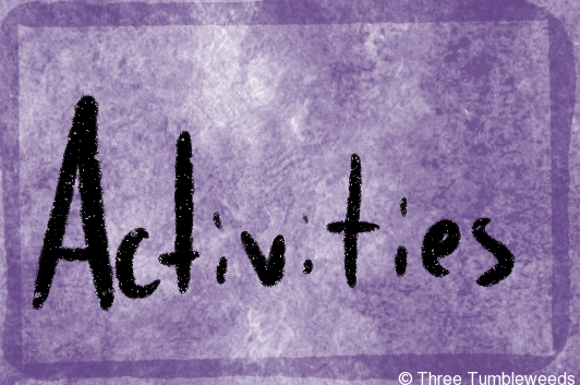 a purple watercolor background with a watery darker border. Activities is written in black handwriting in the center