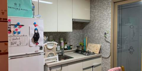A white colored kitchen with a double burner (a wooden cutting board is to the side) on the left of the steel sink is a plastic drying rack. To the left is a medium sized refridgerator with a seperate freezer component. Korean apartment tour.