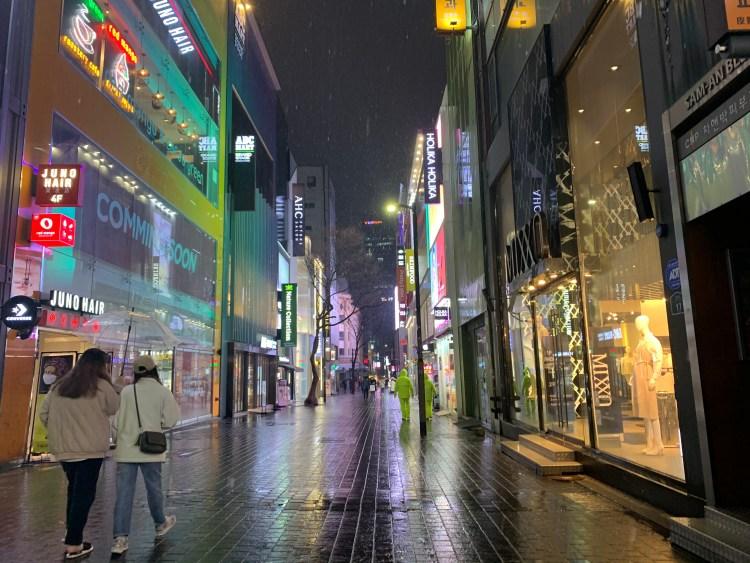 Myeondong on a rainy day go in Korea