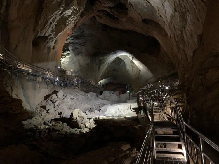 Inside of a huge cavern with boardwalks through it go in Korea