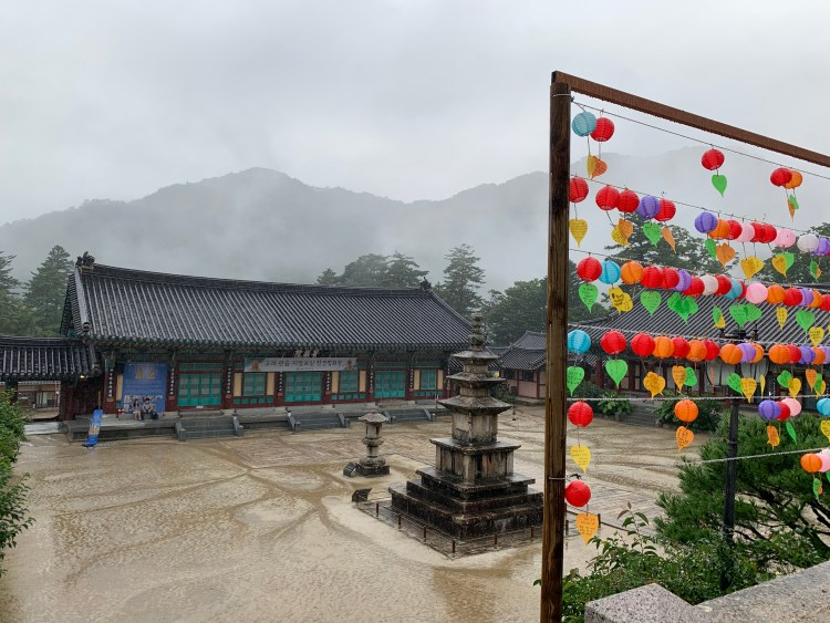 Korean UNESCO sites looking down on the courtyard with hanging lanterns
