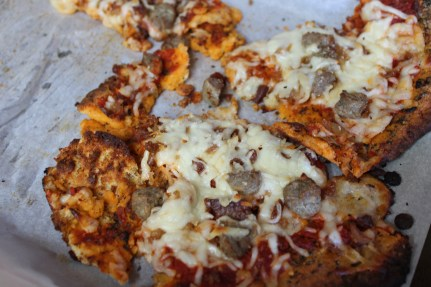 Keto pizza straight from the oven!