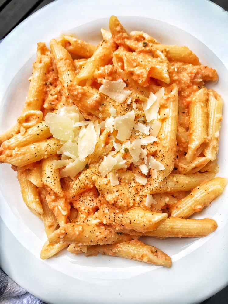 cauliflower, penne, vodka sauce
