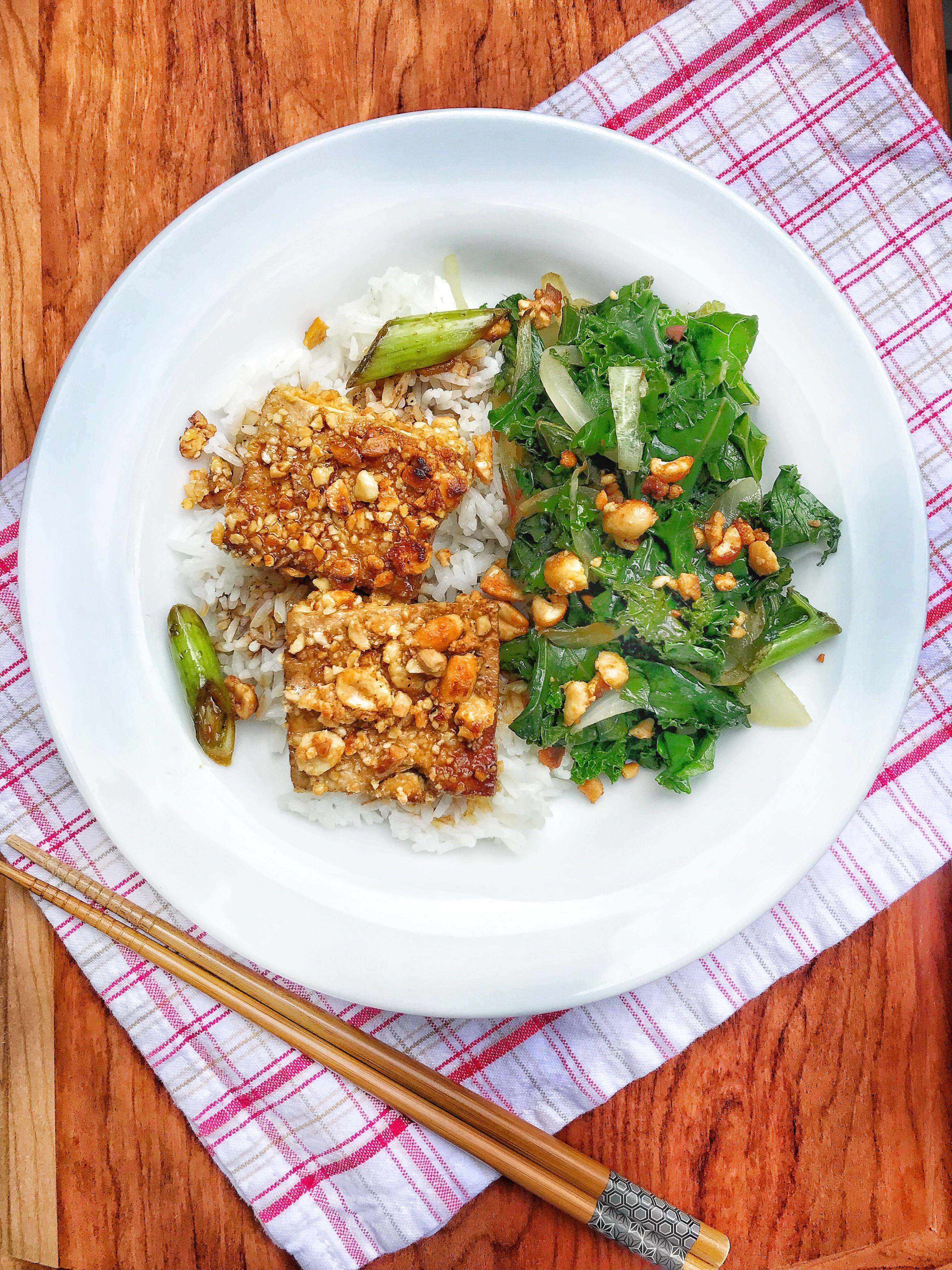 Peanut Crusted Marinated Tofu