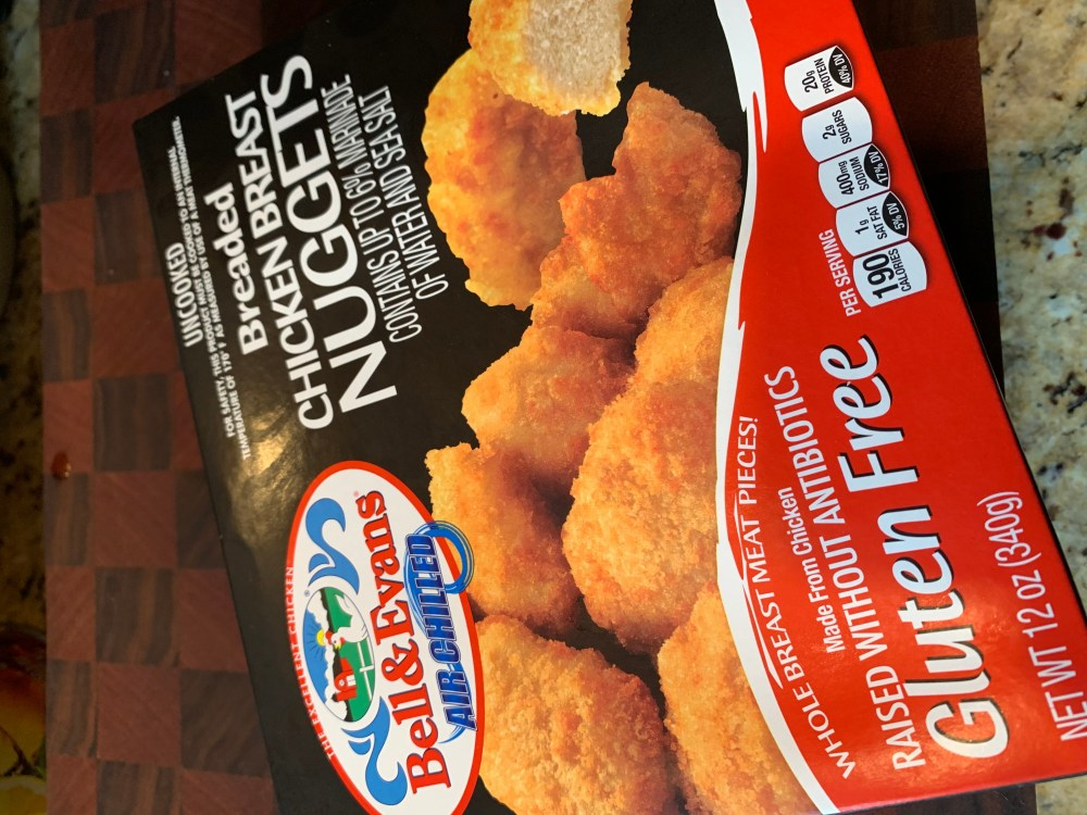 a packgae of bell and evans chicken nuggets
