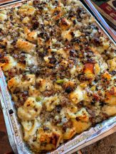 Thanksgiving stuffing with sausage, celery, onions and mushrooms