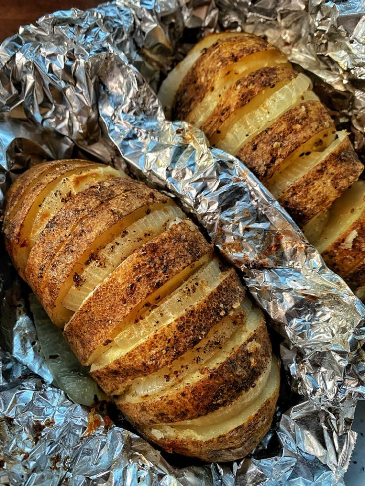 Hasselback Potatoes with Onions