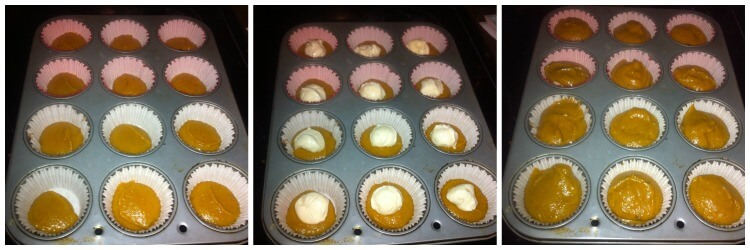 The cupcake tins with the pumpkin cupcake batter and cheesecake batter layered on the pumpkin cheesecake cupcakes.