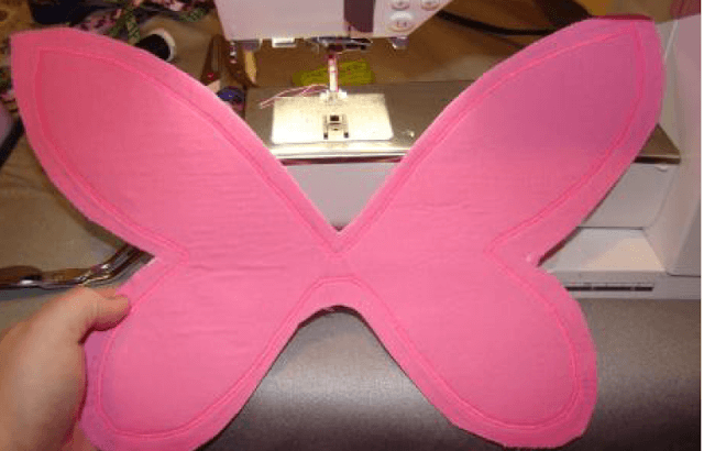 Finished satin stitch on the fairy wings