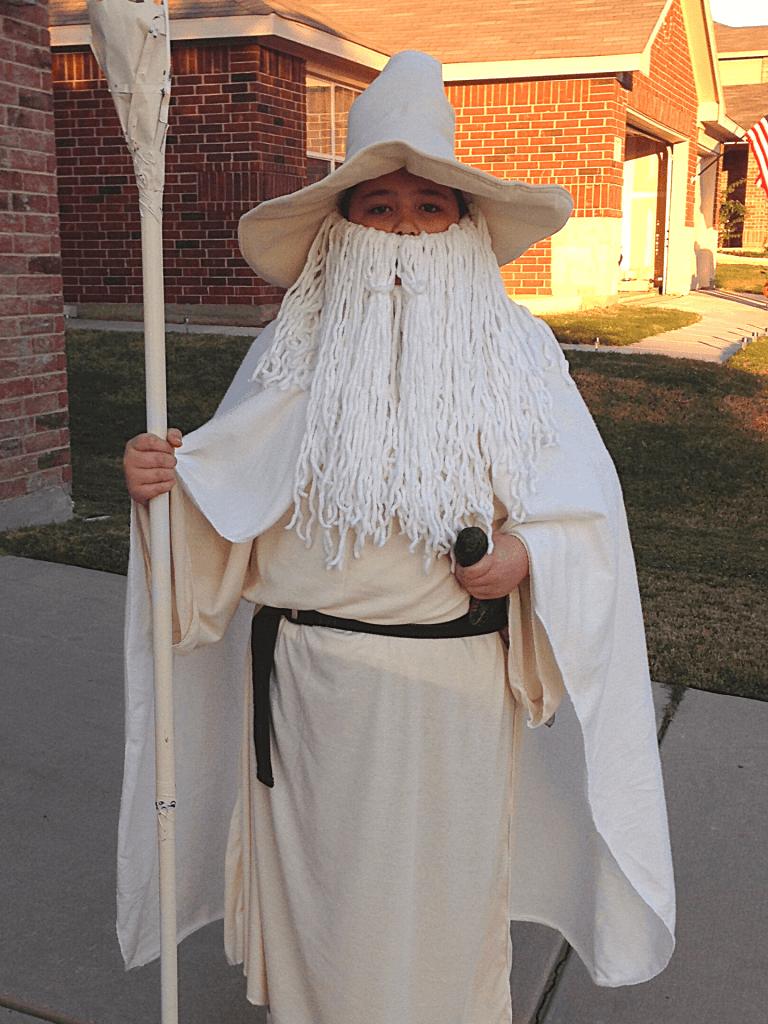 Gandalf the White Halloween Costume with a yarn beard