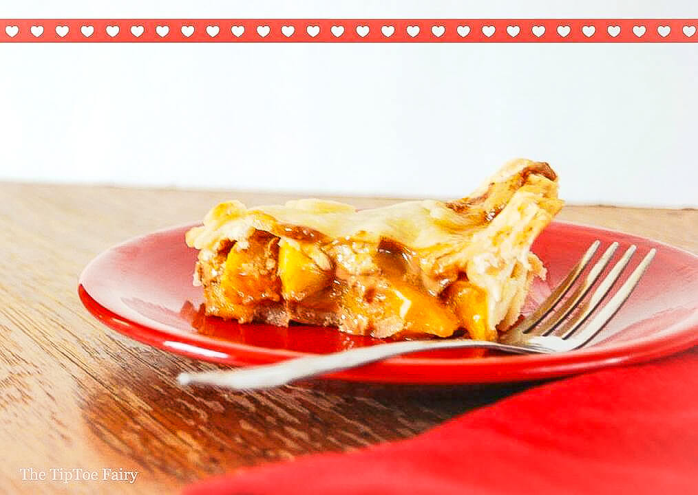 A slice of dulce de leche peach pie