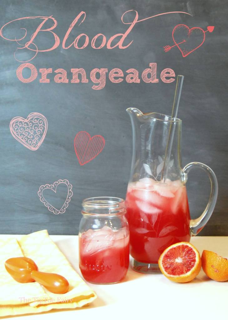 Title image with blood orange in a mason jar and a glass pitcher.