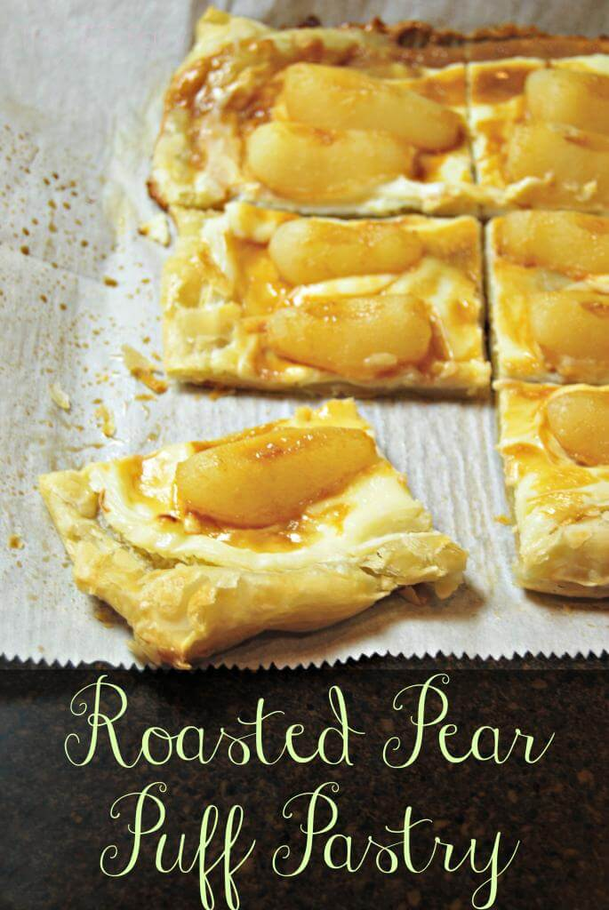 Roasted Pear Puff Pastry with cream cheese and drizzled in dulce de leche syrup