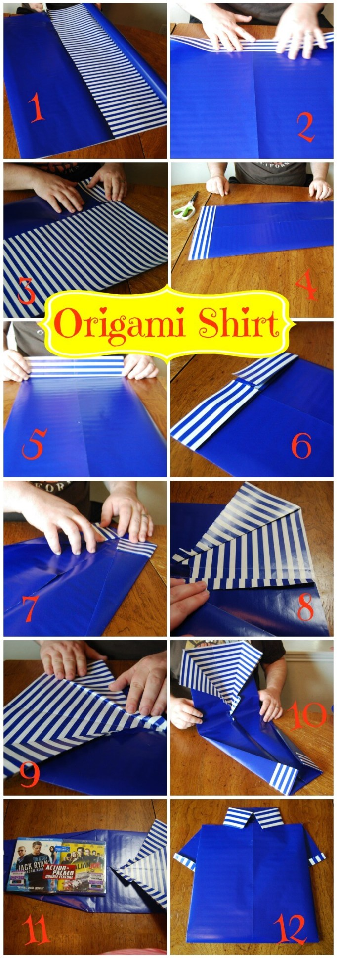 Collage of step by step to make an origami shirt gift wrapping