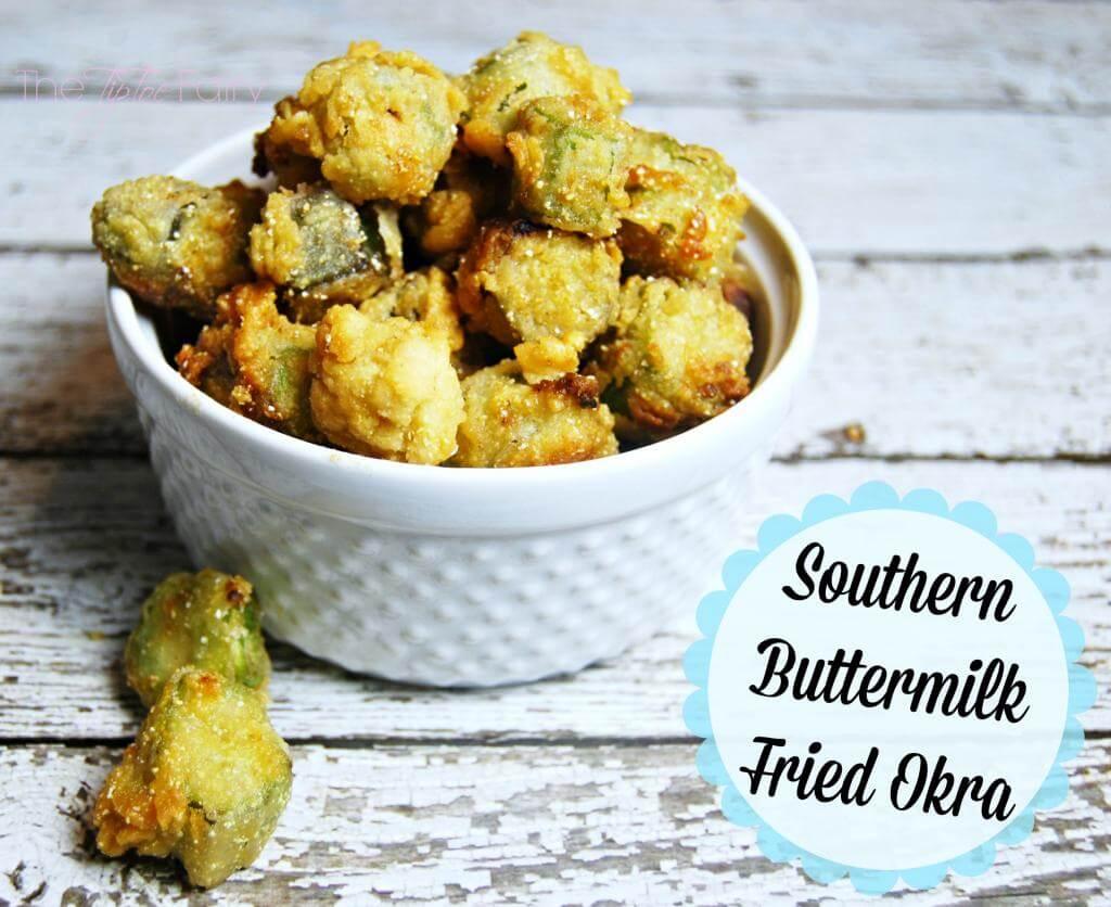 Southern Buttermilk Fried Okra | The TipToe Fairy #friedokra #okra #okrarecipe
