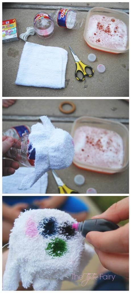 Make tie dye bubble snakes with leftover water bottles, washclothes, and food coloring.