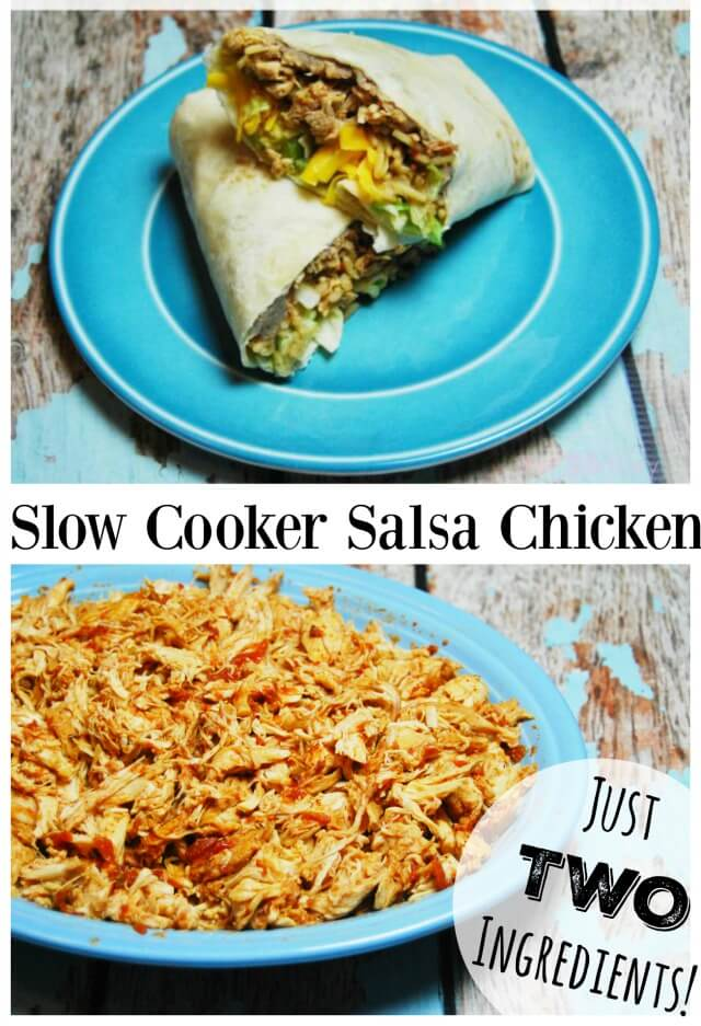 Slow Cooker Salsa Chicken with just 2 ingredients can be shredded and turned into burritos.