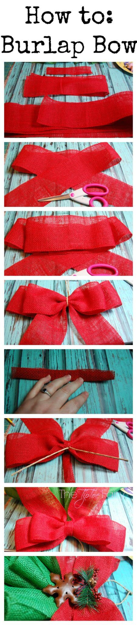 How to make a burlap bow for the burlap christmas tree.