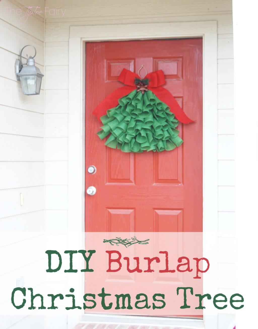 DIY Burlap Christmas Tree Door Hanging on a red front door