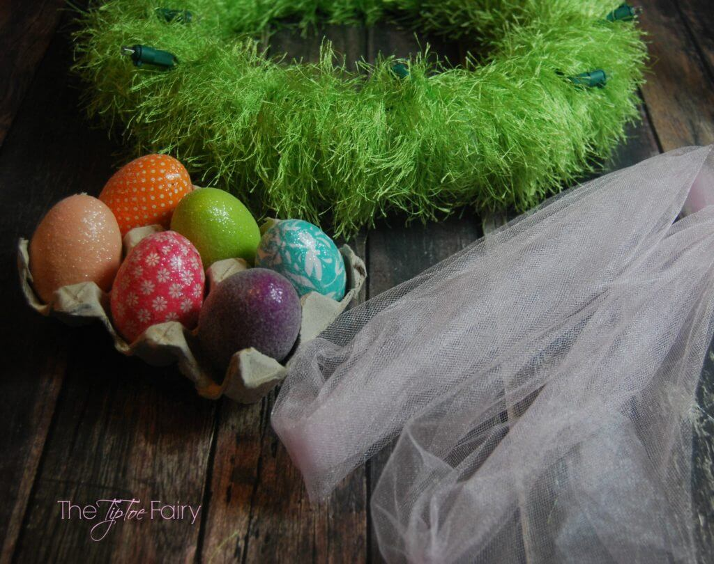 Make an Easter Egg Wreath and upcycle some old Christmas Lights   The TipToe Fairy #BringingInnovation #Ad
