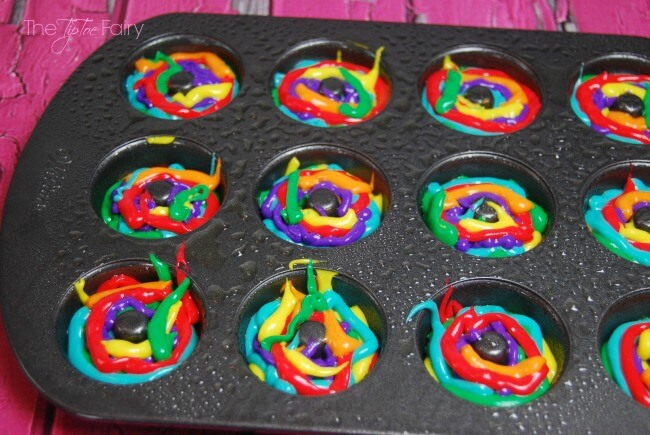 Make some Rainbow Tie Dye Mini Donuts with cake mix! Super easy and fun! The TipToe Fairy #KidsChoiceDrink #Ad width=