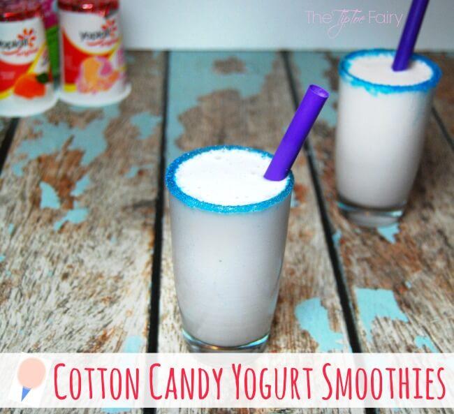 Yoplait® Cotton Candy Yogurt Smoothies #ad   The TipToe Fairy