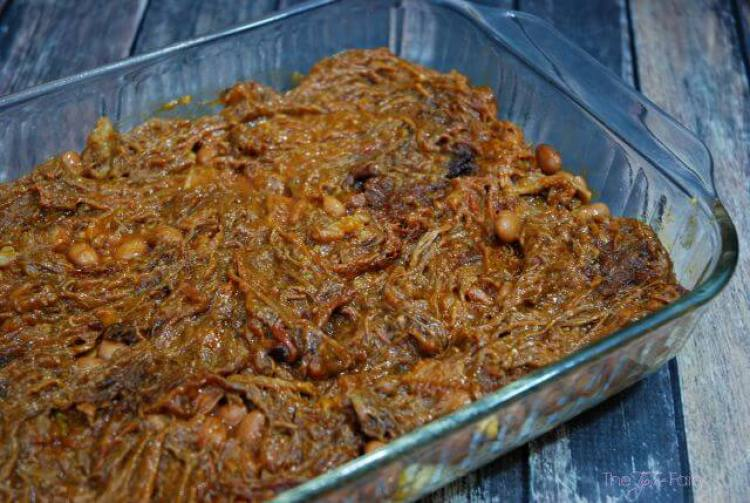Add the brisket or BBQ meat layer to the Cowboy Brisket Casserole