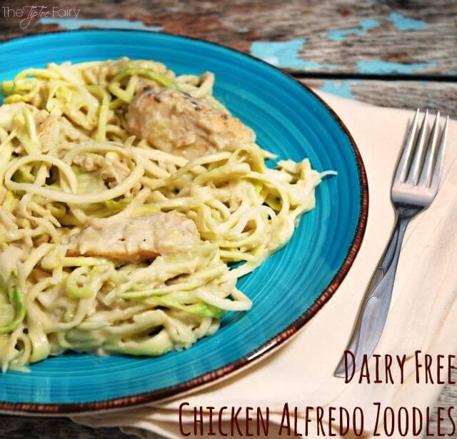 Dairy Free Chicken Alfredo Zoodles #ad #AlmondMilkUpgrade @Walmart | The TipToe Fairy