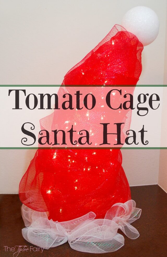 DIY Santa Hat Tomato Cage Christmas Decor - an easy yard art display!   The TipToe Fairy