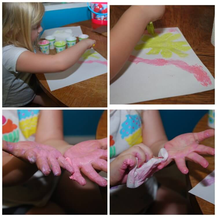 You can also use our foam paint inside for some fun finger painting.