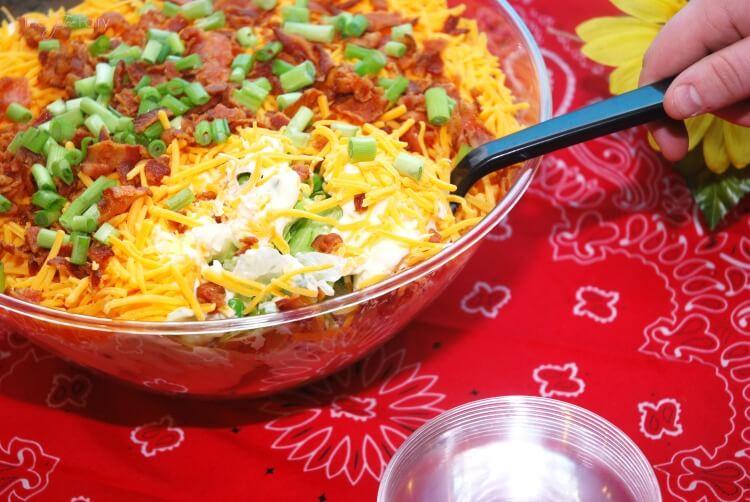 Simple 7 Layer Salad - perfect for potlucks! #food #foodie #BluePlateGreek #ad