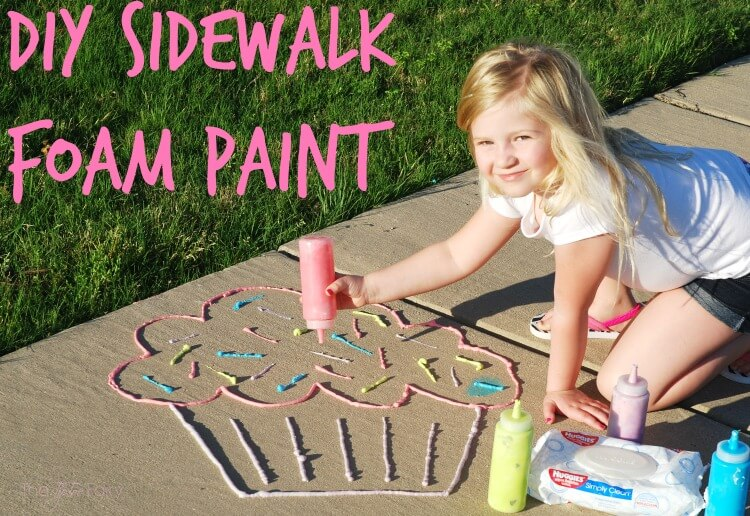 It's so simple to make this DIY Sidewalk Foam Paint. You can make all kinds of designs that easily wash off with water or rain.