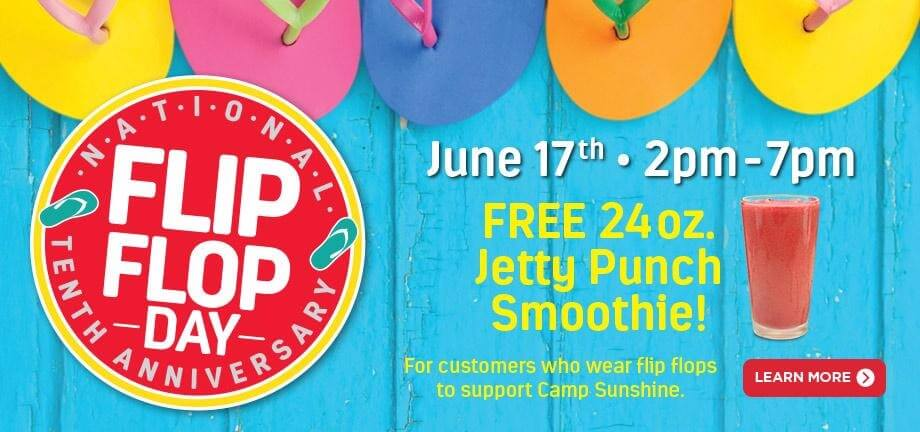 See how you can #SharetheSunshine on National Flip Flop Day w @TSmoothieCafe #TSCFlipFlop #ad