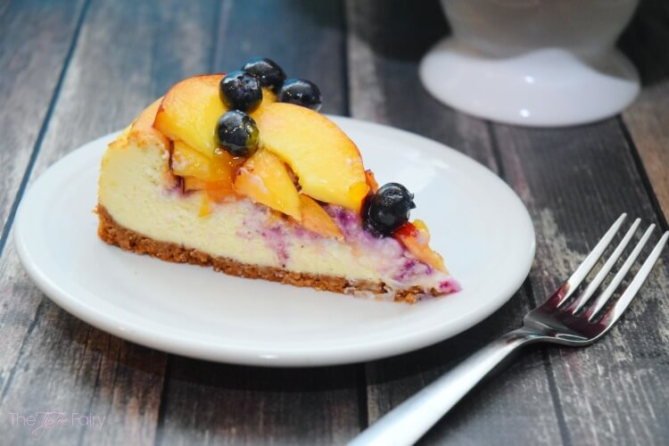 Amazing Blueberry Peach Cheesecake w/walnut crust @cawalnuts #ad #food #foodie