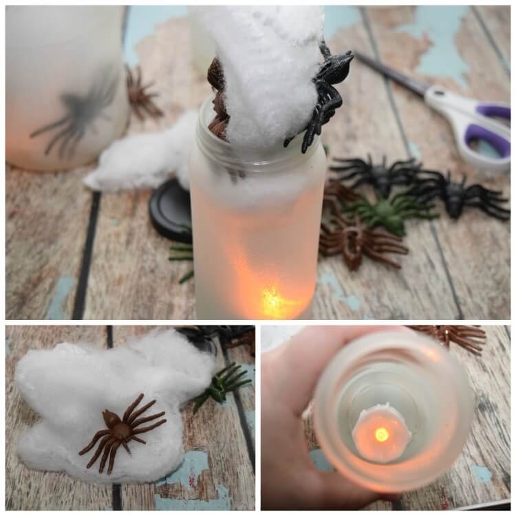 A collage of photos showing how to add the dollar store spiders and spider webs to the jars.