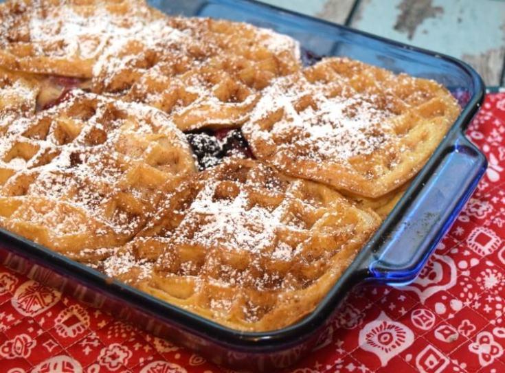 Berry Cream Cheese Waffle Bake
