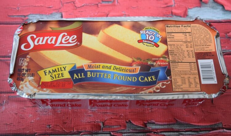 The package of the Sara Lee All Butter Pound Cake