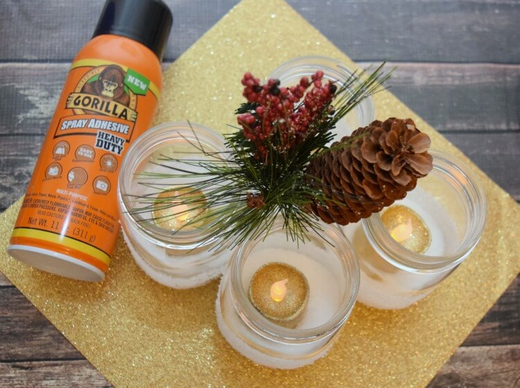 How to make DIY Snow Luminaries for your holiday table or mantle! #ad #GorillaTough @GorillaGlue