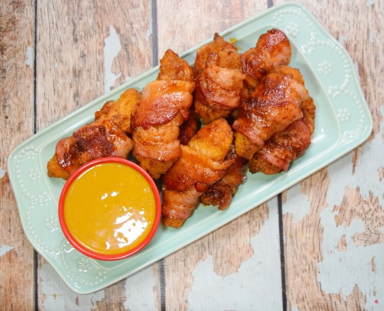 Bacon Wrapped Chicken Strips for the Big Game with Spicy Honey Mustard! #ad