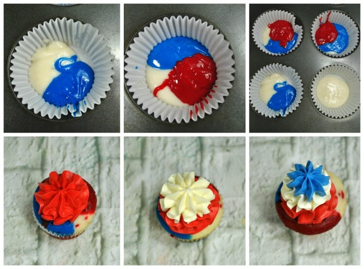 How to layer the cupcake batter for Bomb Pop Cupcakes