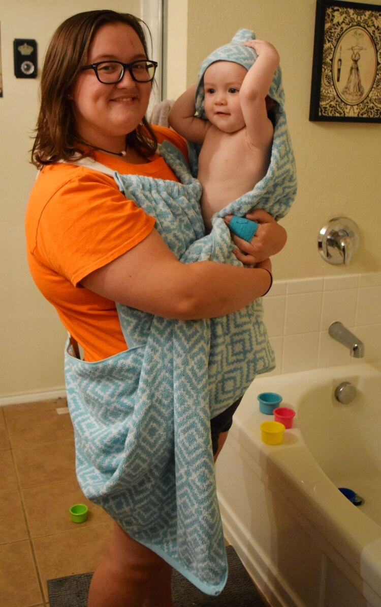 Baby Bath Towel Apron with baby