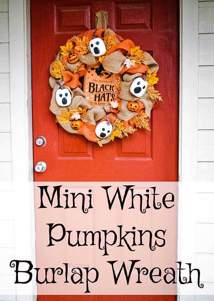 Burlap White Pumpkin Ghost Wreath