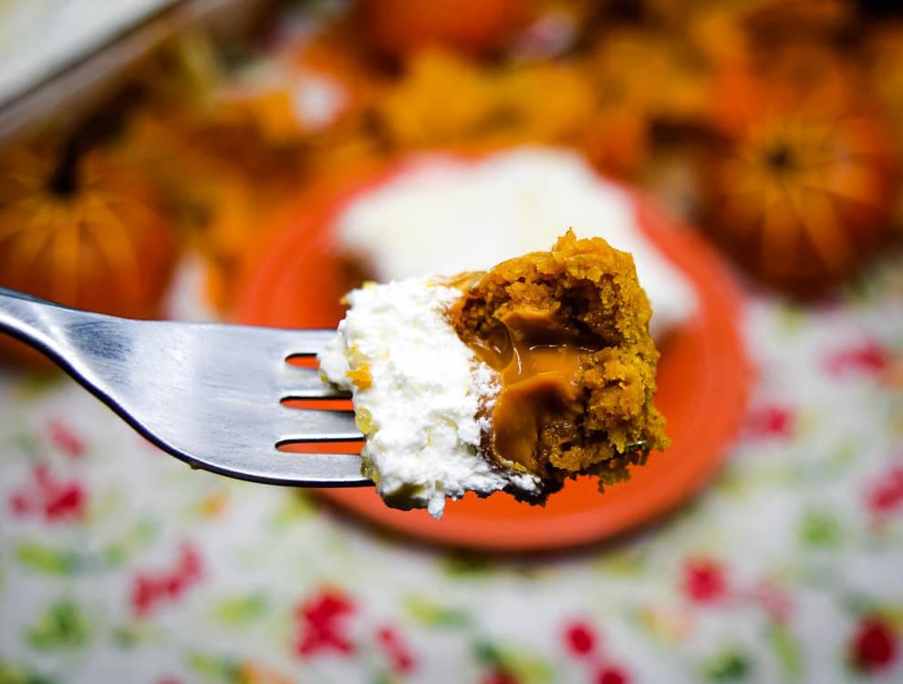 Close up of dulce de leche pumpkin spice poke cake