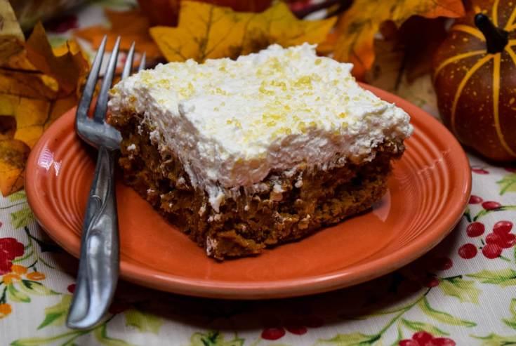 Dulce de Leche Pumpkin Spice Poke Cake - No Eggs!